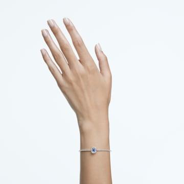 Millenia bangle, Octagon cut Swarovski Zirconia, Blue, Rhodium plated - Swarovski, 5620556