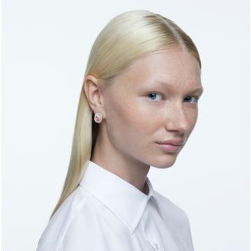 Signum 耳钉, 天鹅, 白色, 镀玫瑰金色调 - Swarovski, 5621105