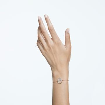 Signum bracelet, Swan, White, Rose-gold tone plated - Swarovski, 5621107