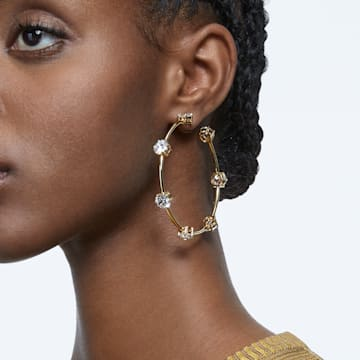 Constella 大圈耳环, 白色, 闪耀的镀金色调 - Swarovski, 5622722