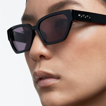 MIL002 sunglasses, Narrow cat-eye, Black - Swarovski, 5625306