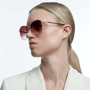 MIL002 sunglasses, Round, Cat-eye, Brown - Swarovski, 5625308