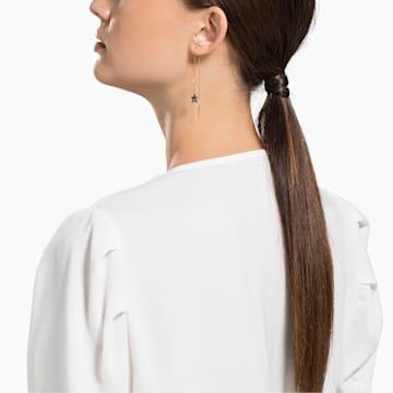 Swarovski Symbolic Moon Pierced Earrings, Teal, Mixed metal finish - Swarovski, 5627351