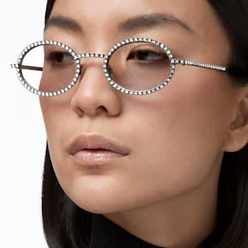 MIL002 sunglasses, Oval, Pavé crystals, Blue - Swarovski, 5627865