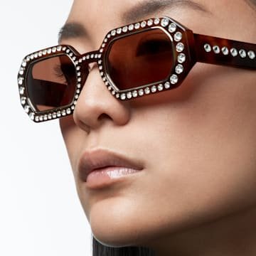 MIL002 sunglasses, Octagon, Pavé crystals, Brown - Swarovski, 5627866