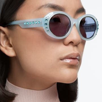 MIL002 sunglasses, Oversized, Pavé crystals, Blue - Swarovski, 5627867