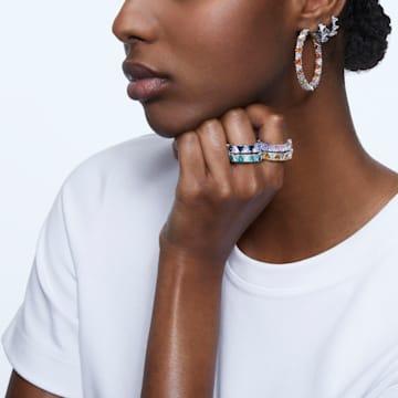 Millenia hoop earrings, Triangle Swarovski Zirconia, Small, White, Rhodium plated - Swarovski, 5632467