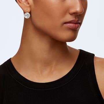 Bella 穿孔耳环, 白色, 镀铑 - Swarovski, 883551