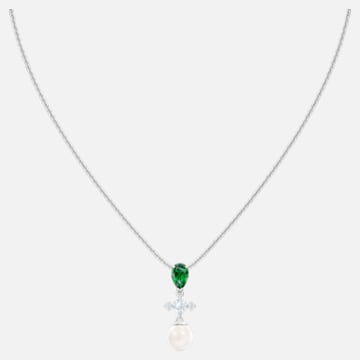 Perfection Necklace, Green, Rhodium plated - Swarovski, 5493103