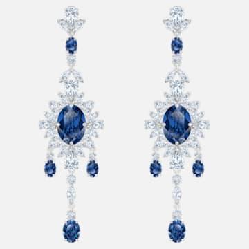 Palace Chandelier Pierced Earrings, Blue, Rhodium plated - Swarovski, 5498817
