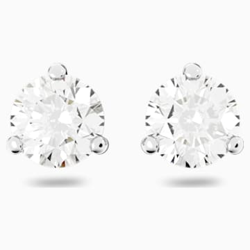 Boucles d'oreilles Solitaire, blanc, Métal rhodié - Swarovski, 1800046