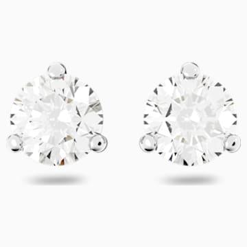 Solitaire 穿孔耳環, 白色, 鍍白金色 - Swarovski, 1800046