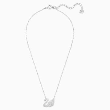 Swan 네크리스, 화이트, 로듐 플래팅 - Swarovski, 5007735
