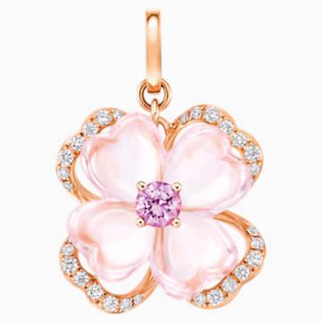天竺绮梦18K玫瑰金芙蓉石粉紅蓝宝石钻石链坠 - Swarovski, 5009716