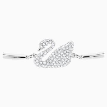 Swan 手鐲, 白色, 鍍白金色 - Swarovski, 5011990