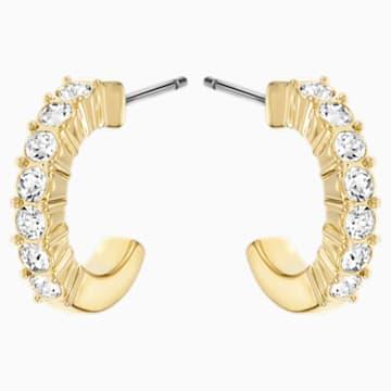 Orecchini a cerchio Mini, bianco, Placcato oro - Swarovski, 5022451