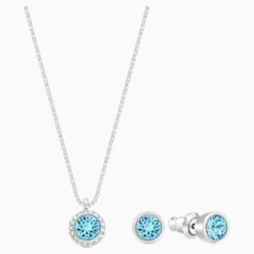 Conjunto Flirt, azul, Baño de Rodio - Swarovski, 5030716