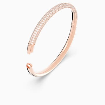 Stone Bangle, White, Rose-gold tone plated - Swarovski, 5032849