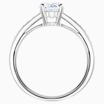 Attract Round Ring, White, Rhodium plated - Swarovski, 5032919