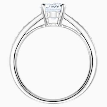 Anello Attract Round, bianco, Placcatura rodio - Swarovski, 5032922