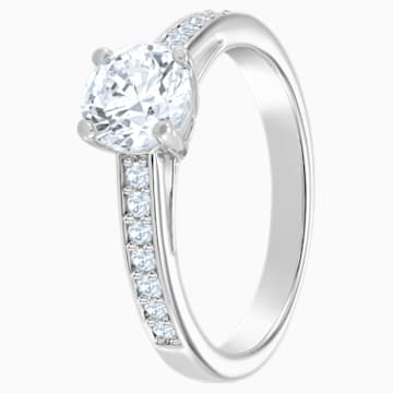 Anello Attract Round, bianco, Placcatura rodio - Swarovski, 5032923