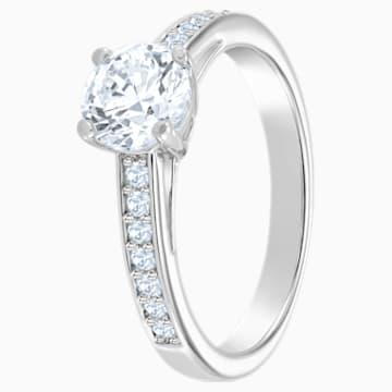Attract Round 戒指, 白色, 鍍白金色 - Swarovski, 5032923
