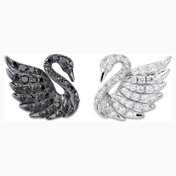 18K WG Dia Double Swans Earrings (BK/WH) - Swarovski, 5036326