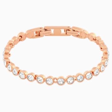Tennis 手鏈, 白色, 鍍玫瑰金色調 - Swarovski, 5039938