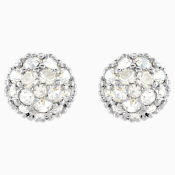 Euphoria Pierced Earrings, White, Rhodium plated - Swarovski, 5073039