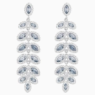 Baron Pierced Earrings, Blue, Rhodium plated - Swarovski, 5074350