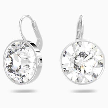 Bella Mini Earrings, White, Rhodium plated - Swarovski, 5085608
