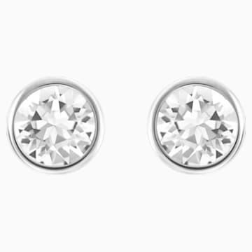 Τρυπητά σκουλαρίκια Solitaire, λευκά, επιροδιωμένα - Swarovski, 5101338