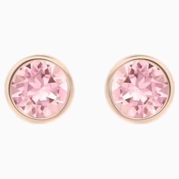 Orecchini Solitaire, rosa, placcato color oro rosa - Swarovski, 5101339