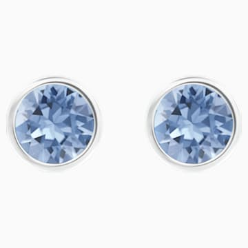 Solitaire Pierced Earrings, Blue, Rhodium plated - Swarovski, 5101342