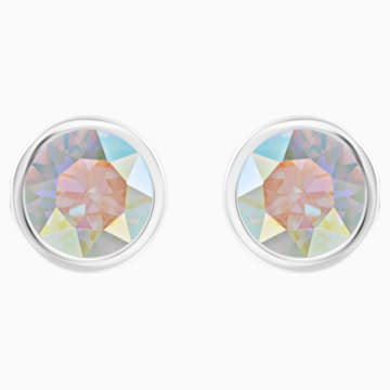 Solitaire Pierced Earrings, Multi-colored, Rhodium plated - Swarovski, 5101343