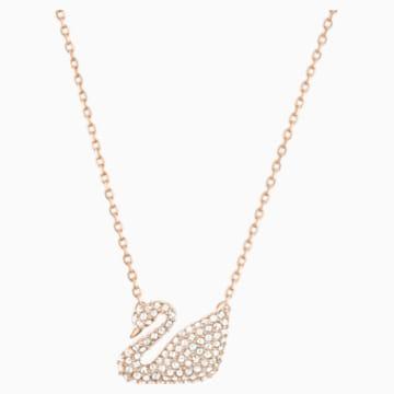 Náhrdelník Swan, Bílý, Pozlacený růžovým zlatem - Swarovski, 5121597