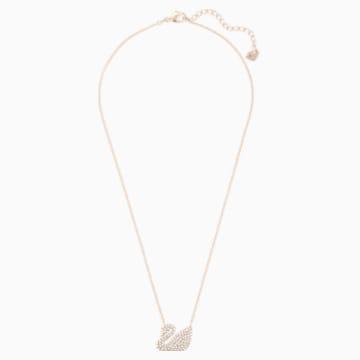 Swan Necklace, White, Rose-gold tone plated - Swarovski, 5121597