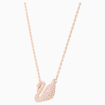 Swan 项链, 白色, 镀玫瑰金色调 - Swarovski, 5121597