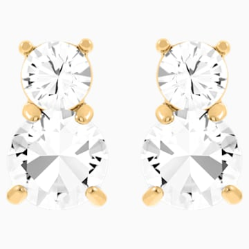 Solitaire Double Ohrringe, weiss, Vergoldet - Swarovski, 5128809