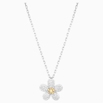 Tough Flower Necklace, White, Mixed metal finish - Swarovski, 5136830