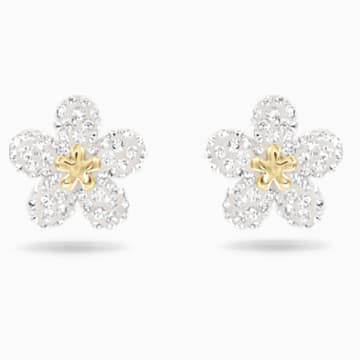 Tough白色仿水晶花朵造型穿孔耳环 - Swarovski, 5136838