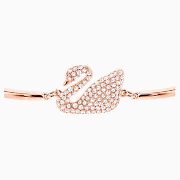 Brazalete Swan, blanco, Baño en tono Oro Rosa - Swarovski, 5142752