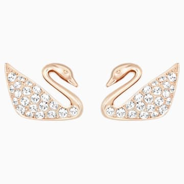 Boucles d'oreilles Swan, blanc, Métal doré rose - Swarovski, 5144289