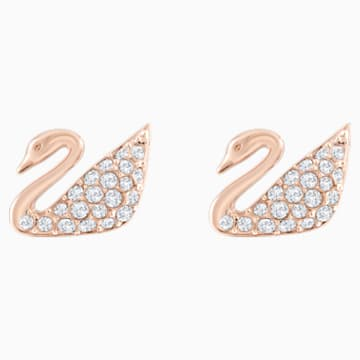 Kolczyki sztyftowe Swan, białe, w odcieniu różowego złota - Swarovski, 5144289