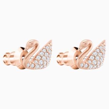 Pendientes Swan, blanco, Baño en tono Oro Rosa - Swarovski, 5144289