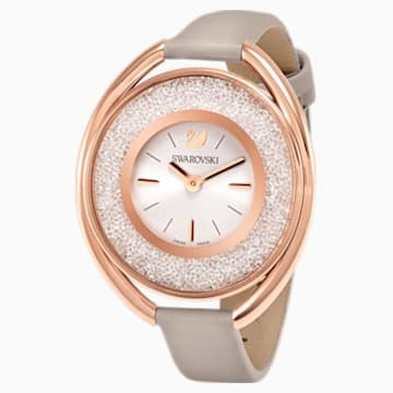 Orologio Crystalline Oval, Cinturino in pelle, grigio, PVD oro rosa - Swarovski, 5158544