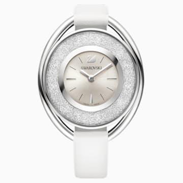 Crystalline Oval 手錶, 真皮錶帶, 白色, 銀色 - Swarovski, 5158548