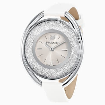 Reloj Crystalline Oval, Correa de piel, blanco, tono plateado - Swarovski, 5158548