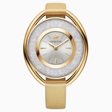 Crystalline Oval Watch, Fabric strap, Yellow, Gold-tone PVD - Swarovski, 5158972