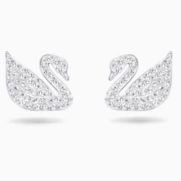 Swan 穿孔耳环, 白色, 镀铑 - Swarovski, 5161256